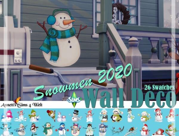 Wall Deco Snowmen 2020 from Annett`s Sims 4 Welt