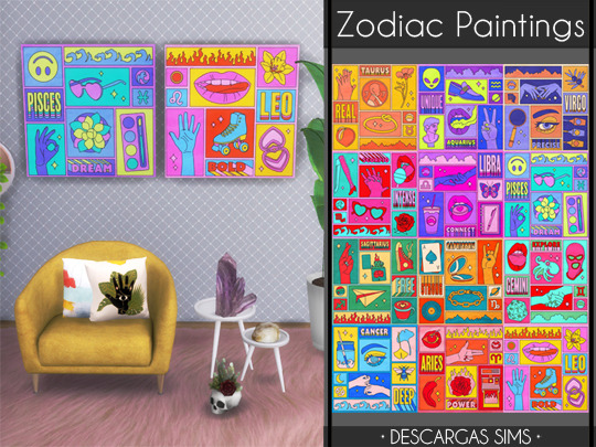 Zodiac Paintings from Descargas Sims