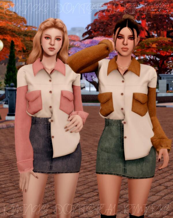 Corduroy Pocket Shirt and Denim Skirt from Rimings