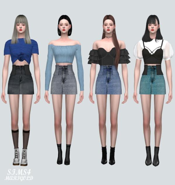 Corset Denim Skirt from SIMS4 Marigold