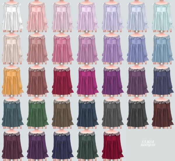 TTT Frill Baby doll Mini Dress from SIMS4 Marigold