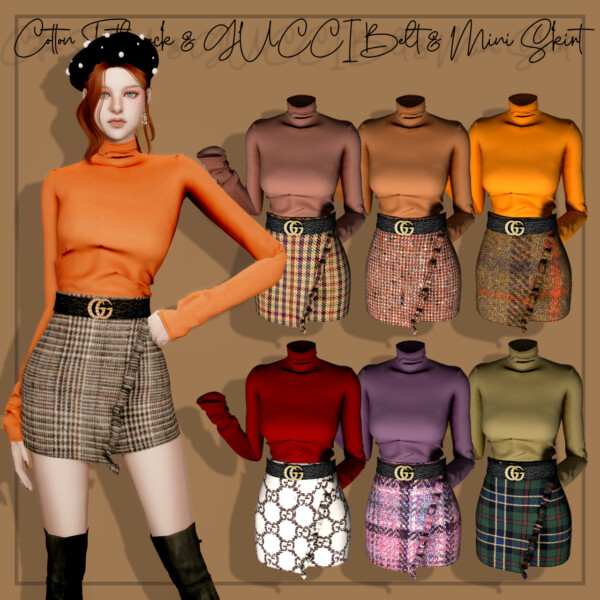 Cotton Turtleneck, Belt and Mini Skirt from Rimings