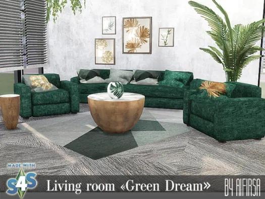 Green Dream Livingroom from Aifirsa Sims