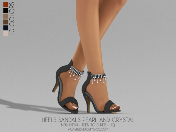 Heels Sandals Pearl and Crystal from Red Head Sims