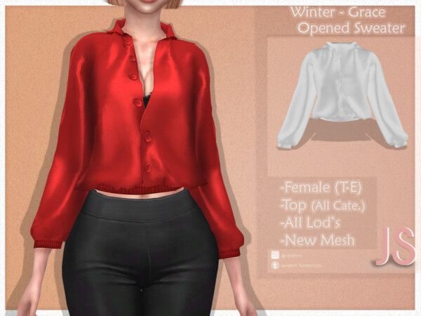 Winter Grace Opened Sweater by JavaSims from TSR
