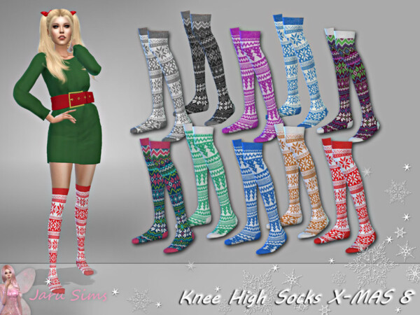 Knee High Socks X MAS 8 Recolored by Jaru Sims from TSR