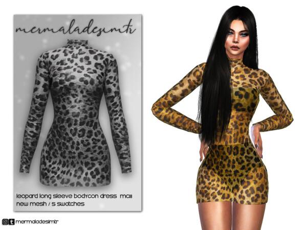 Leopard Long Sleeve Bodycon Dress by mermaladesimtr from TSR