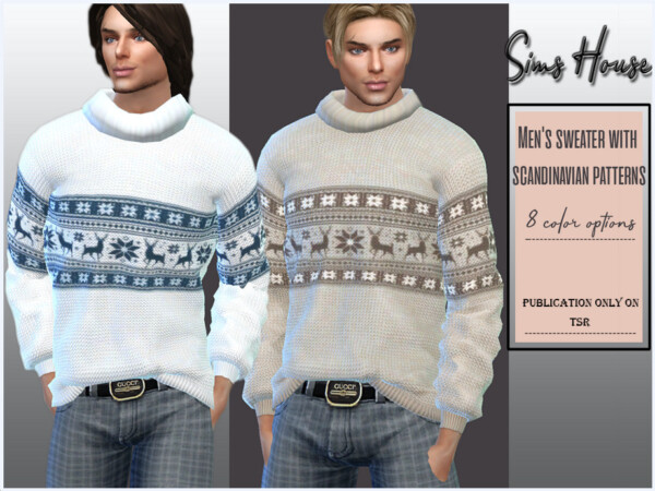 Mens sweater with scandinavian patterns by Sims House from TSR