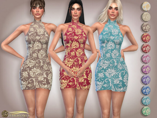 Ornate Glittery Embroidery Halter Dress by Harmonia from TSR