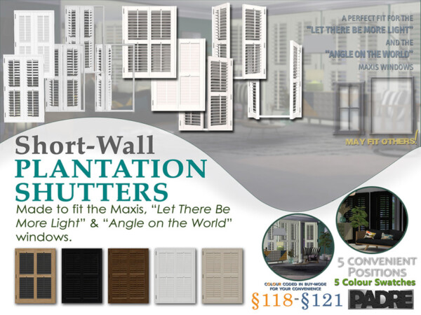 Short Wall Plantation Shutters by Padre from TSR