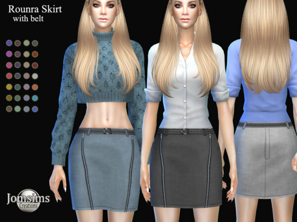 Rounra skirt with belt by jomsims from TSR