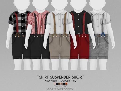 Tshirt suspender short from Red Head Sims