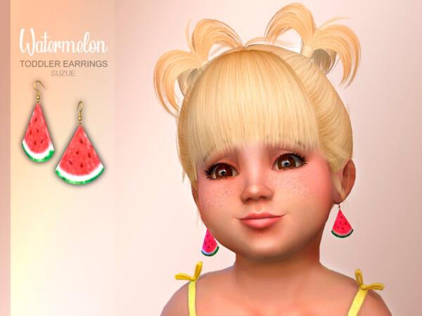 Watermelon Toddler Earrings by Suzue from TSR
