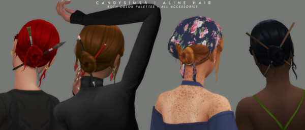 Aline Hair and Accessories from Candy Sims 4