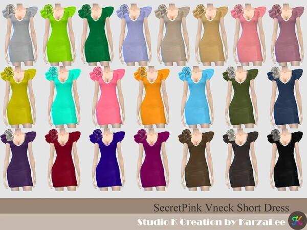SecretPink V neck Short Dress from Studio K Creation