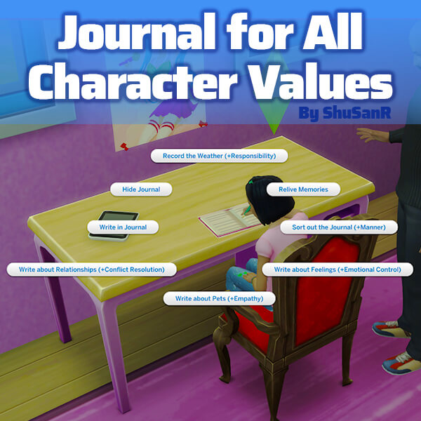 5 New Write in Journal Interacions by ShuSanR from Mod The Sims