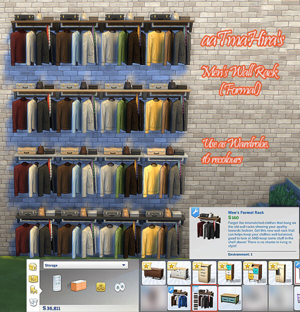 Wardrobe Mens Wall Racks  Recoloured by aaTmaHira from Mod The Sims