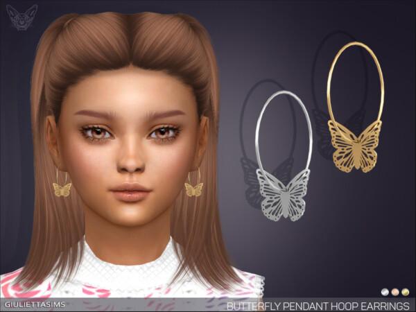 Butterfly Pendant Hoop Earrings by feyona from TSR