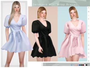 Jacquard Mini Wrap Dress
