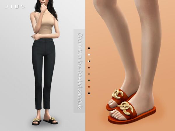 Jius Chain trim low heeled sandals 01