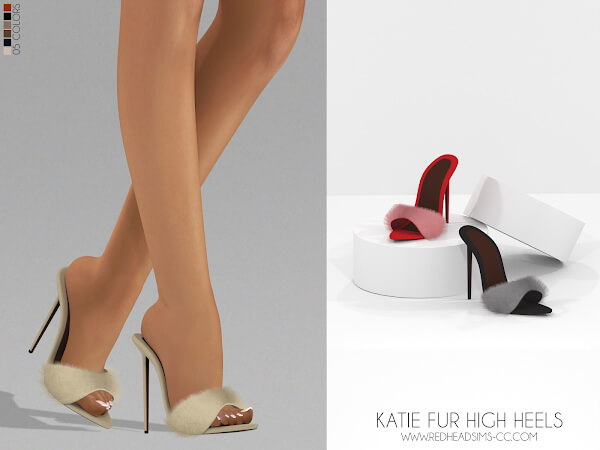Katie Fur High Heels from Red Head Sims