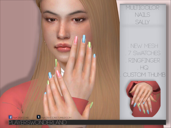 Multicolor Nails Sally by PlayersWonderland from TSR