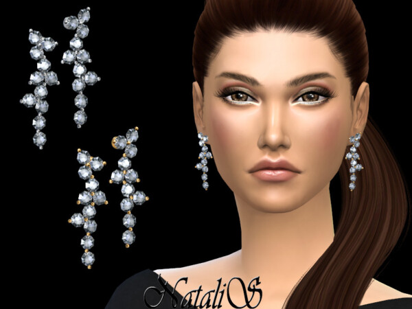 Diamond cluster drop earrings by NataliS from TSR