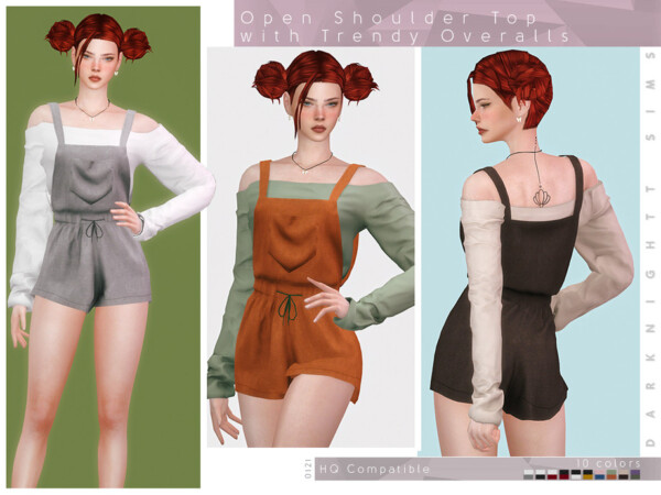 Open Shoulder Top with Trendy Overalls by DarkNighTt from TSR
