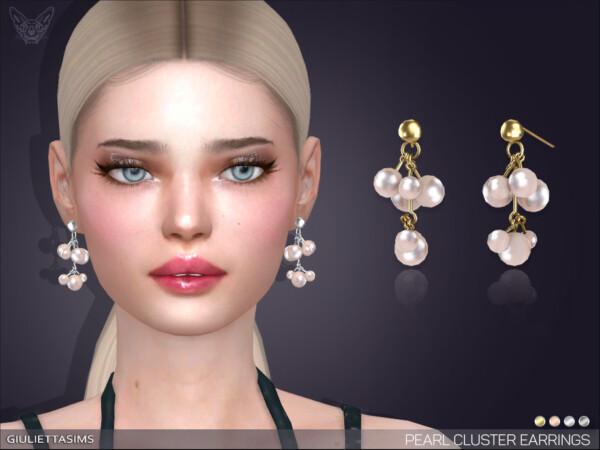 Pearl Cluster Drop Earrings by feyona from TSR