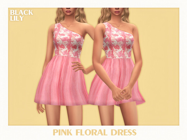 Pink Floral Dress by Black Lily from TSR