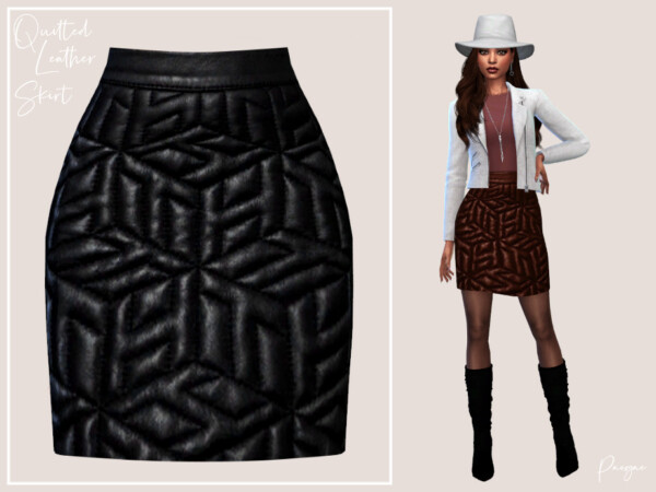 Quilted Leather Skirt by Paogae from TSR