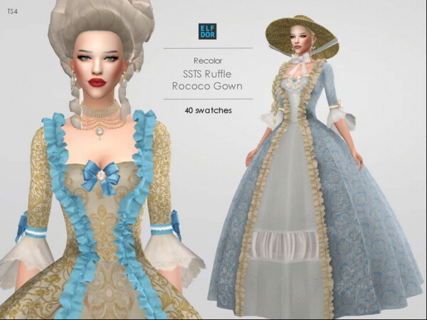 Ruffle Rococo Gown Recolored from Elfdor