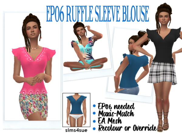 Ruffle Sleeve Blouse from Sims 4 Sue