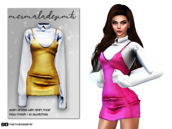 Satin Dress with Shirt by mermaladesimtr from TSR