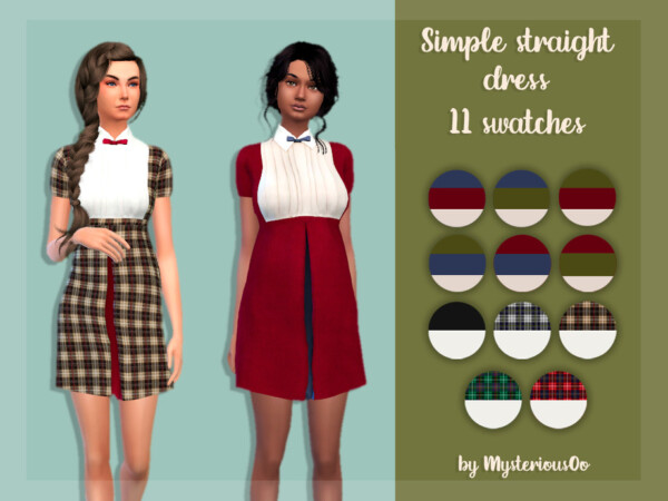 Simple straight dress by MysteriousOo from TSR