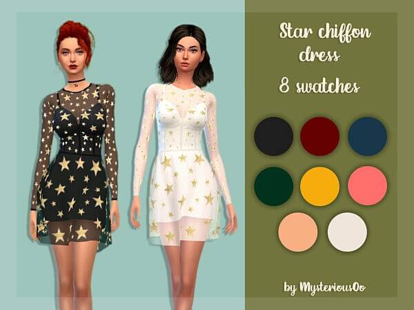 Star chiffon dress by MysteriousOo from TSR