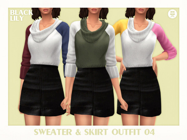 Sweatera and Skirt Outfit 04 by Black Lily from TSR