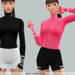 Turtleneck Top With Thumb Holes