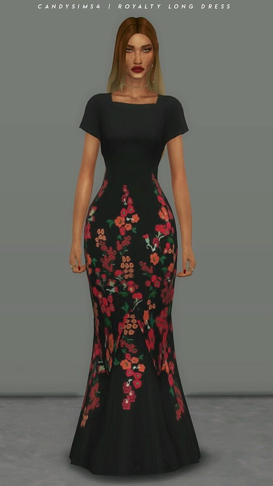 Royalty Long Dress from Candy Sims 4