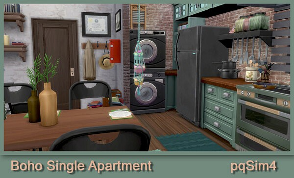 Boho single apartment from PQSims4