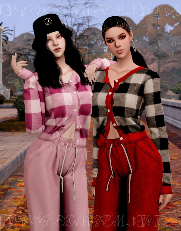 V neck Check Cardigan and Colorful Jogger Pants from Rimings