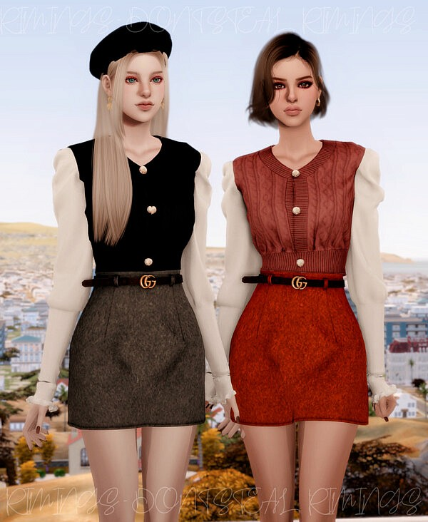 Puff sleeve Short Kint Blouse and Belt A line Skirt from Rimings