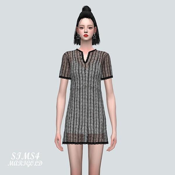 5 ST Knit Mini Dress sims 4 cc