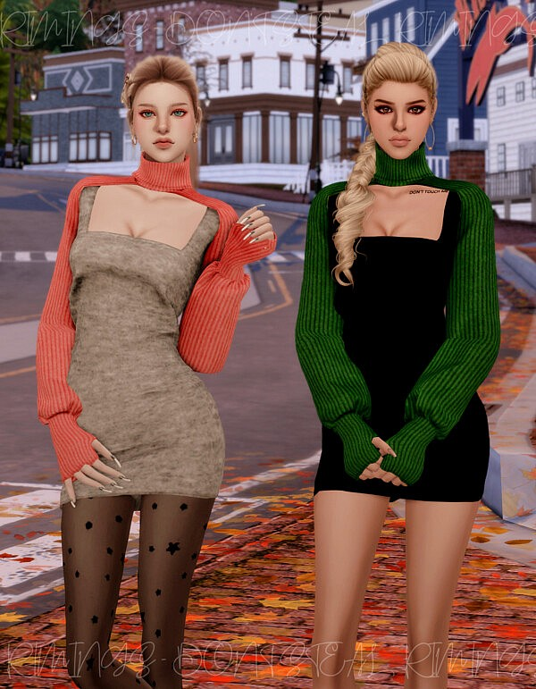 Crop Knit Turtleneck and Tight Dress from Rimings