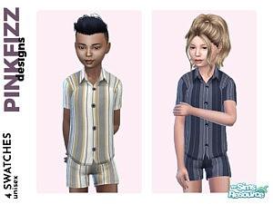 Alex Short Stripy PJs Sims 4 CC