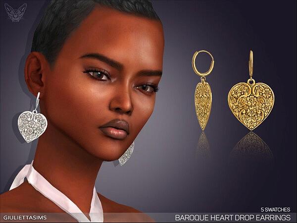 Baroque Heart Drop Earrings by feyona