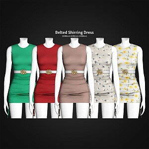 Belted Shirring Dress sims 4 cc