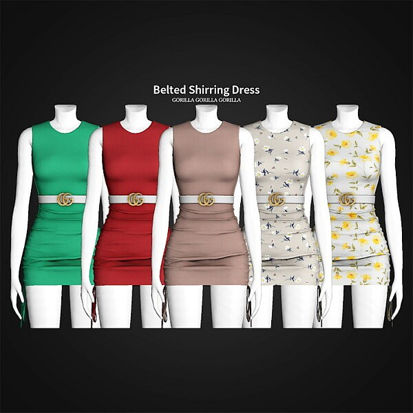 Belted Shirring Dress from Gorilla