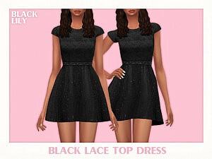 Black Lace Top Dress sims 4cc