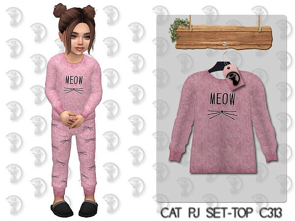 Cat Pajama Set Top by turksimmer from TSR